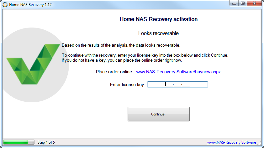 Enter Home NAS Recovery license key